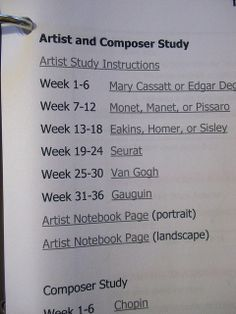"""""""Homeschool Art Appreciation - Charlotte Mason High School Examples: Part One"""" (from Harmony Fine Arts At Home blog) ... Artist and Composer Study"""
