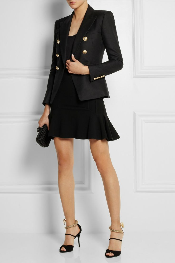 Balmain blazer, The Row top, Jennifer Fisher ring, Antonio Berardi skirt, Giuseppe Zanotti shoes, Bottega Veneta clutch.