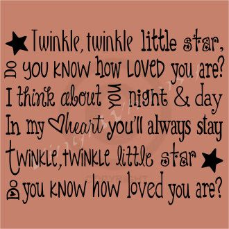 Vinyl Wall Art - Twinkle, Twinkle Little Star, Do You Know How Loved You Are I Think About You Night And Day In My Heart... - MVDPR0053