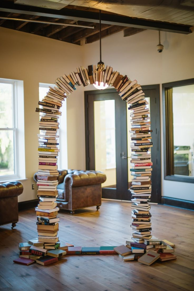 Arch Made of Books   An Eclectic Travel Inspired Wedding