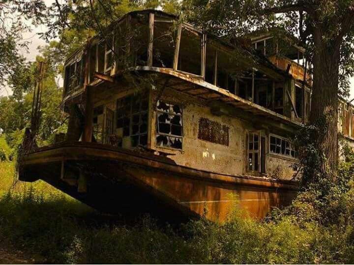 "Forgotten riverboat along the Mississippi River ""Mamie S. Barret."""