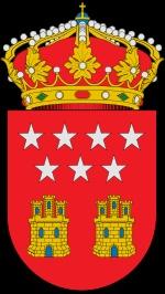 Este es el scudo de la Comunidad de Madrid que tiene una descripcion de como de ser en el Anexo 2 del Decreto 2/1984. Tiene las mismas estrellas de la bandera y castellos que simbolizan las Castillas.