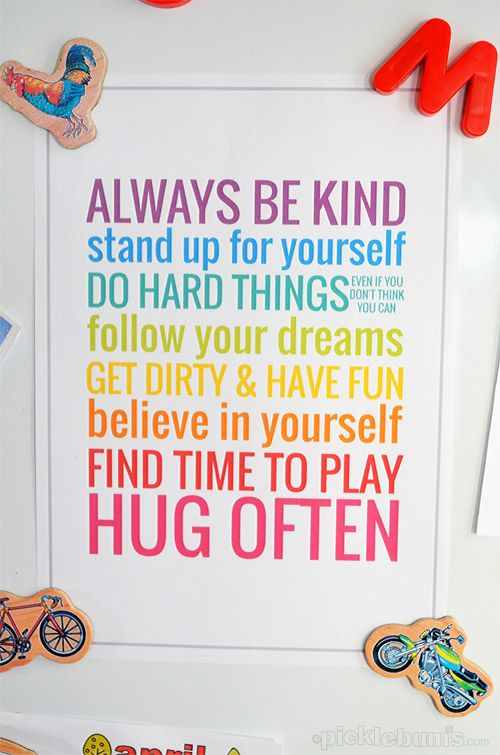 A great printable poster of 'rules' for kids