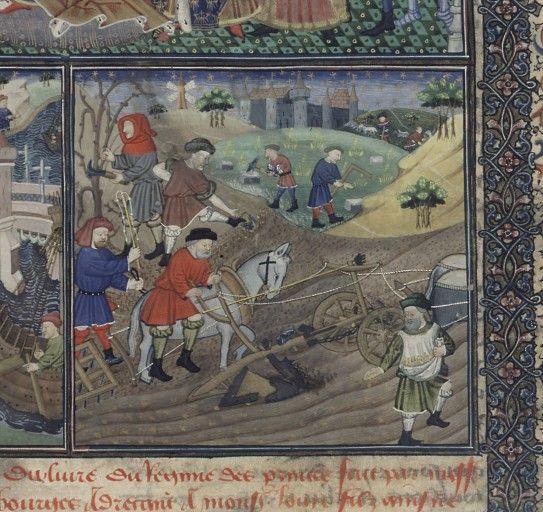 Workers, De informatione principum (BNF Fr. 126, fol. 7); Cato the Elder, Laelius and Scipio, Cato Major de Senectute (BNF Fr. 126, fol. 123), c. 1450