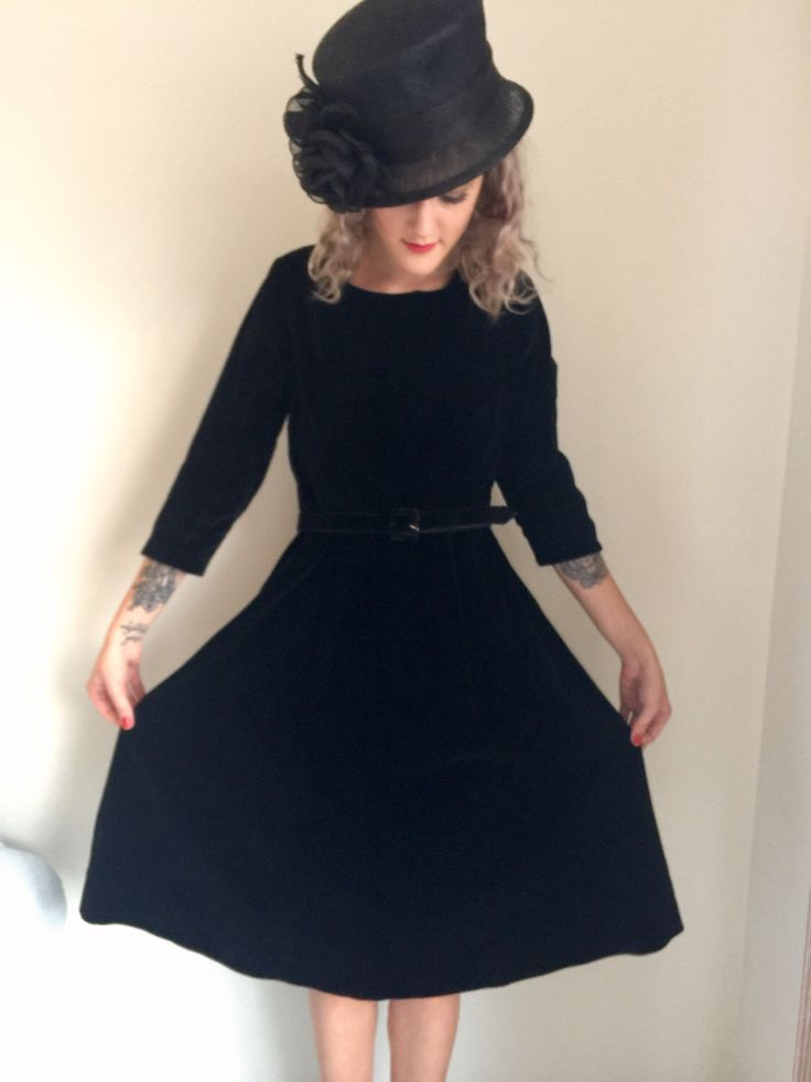 A personal favorite from my Etsy shop https://www.etsy.com/ca/listing/505438317/vintage-1950s-black-velvet-dresspin-up