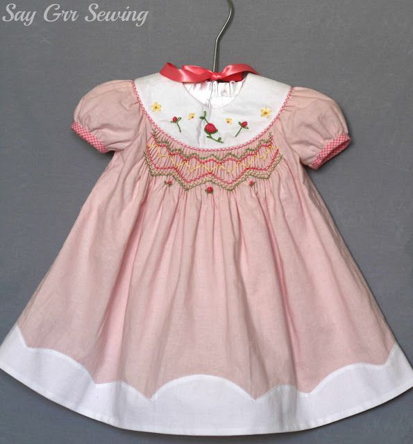 Say Grr Sewing: Smocked Baby Dress with lots of pictures of dress.