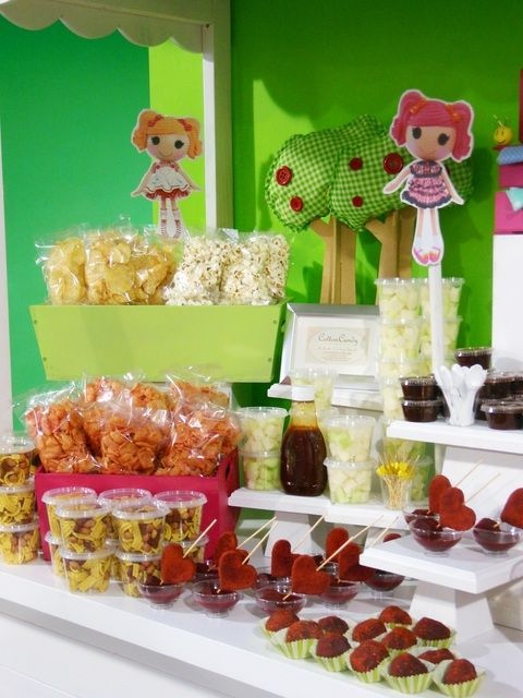 Treats on a cart at a Lalaloopsy party! See more party ideas at CatchMyParty.com! #partyideas #lalaloopsy