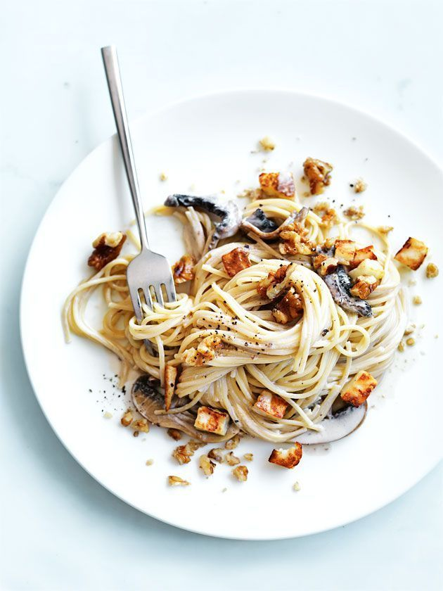 mushroom pasta with haloumi and walnuts