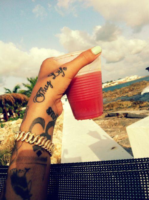 thug life sick AF hand tatt
