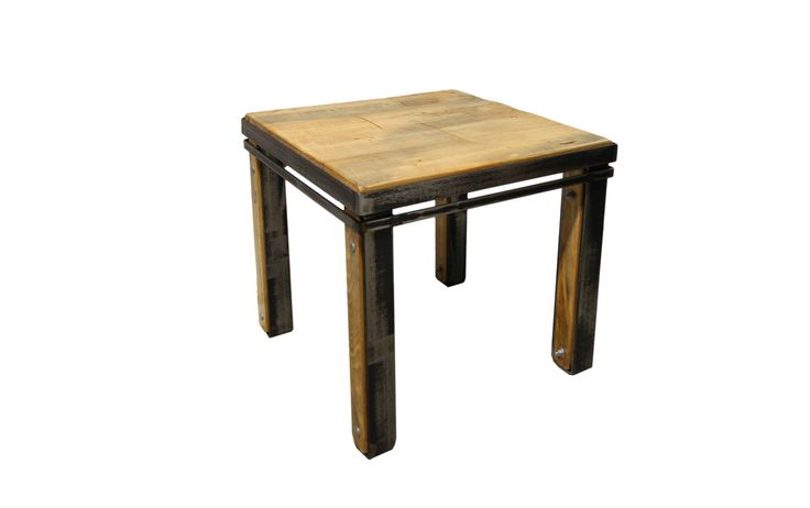 Table de bout en pruche #table #living #room #acier #steel #meuble #furniture #industriel #industrial #design #wood #bois
