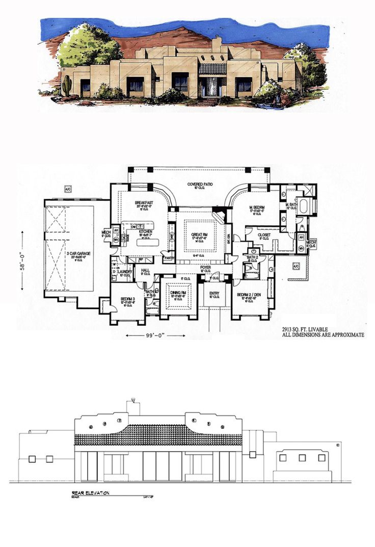 49 best santa fe house plans images on pinterest santa fe floor santa fe southwest house plan 54640