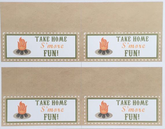 Camping/Western Party S'mores Party Favor Tags  Instant