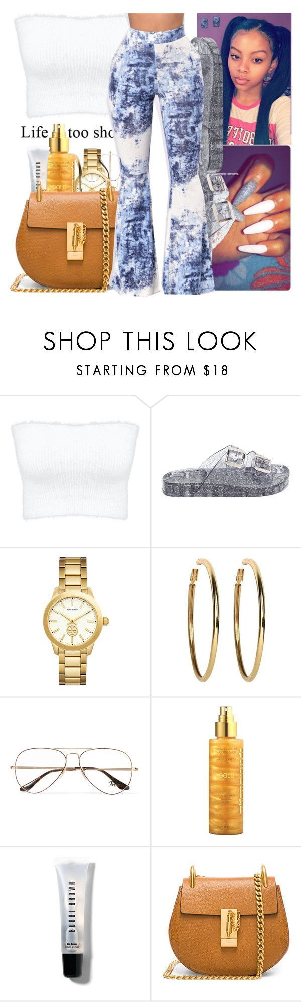 """""""Cardi B"""" by littydee ❤ liked on Polyvore featuring GLITTER JELLY, Versace, Kenneth Jay Lane, Ray-Ban, Miriam Quevedo, Bobbi Brown Cosmetics and Chloé #schooloutfits"""