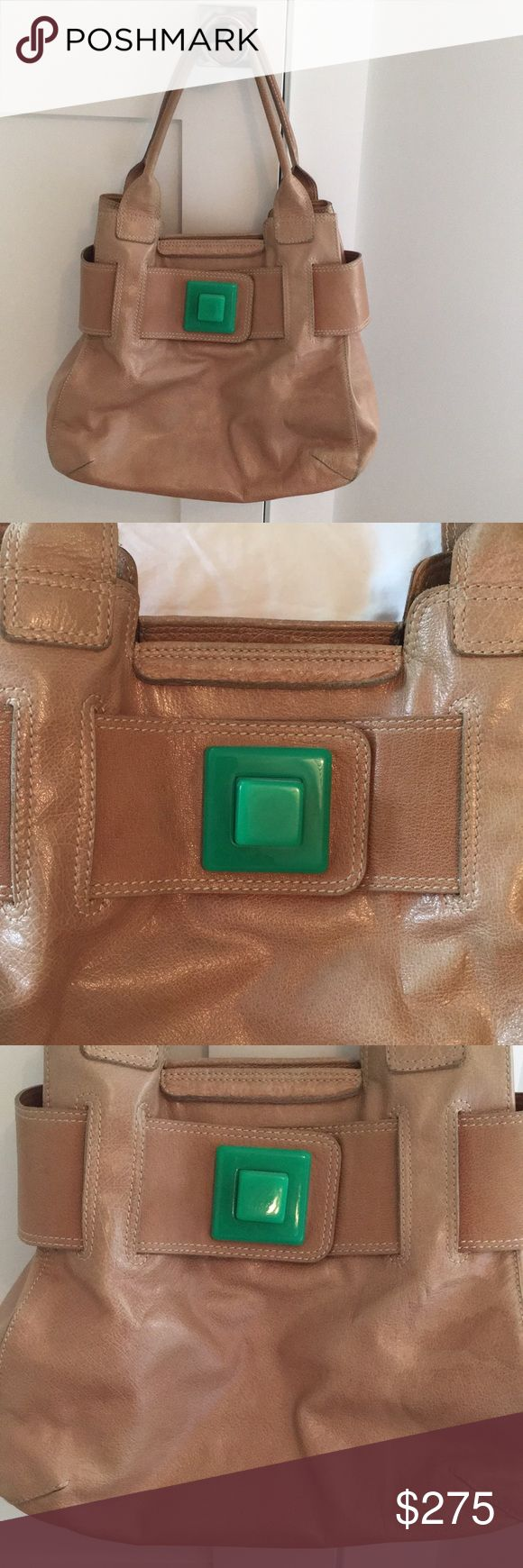 """Orla Kiely Leather bag w/green accent Very cool Orla Kiely tan leather bag with green accent. Measurements 20""""x13"""" Used condition  Matching Wallet also for sale Orla Kiely Bags Shoulder Bags"""