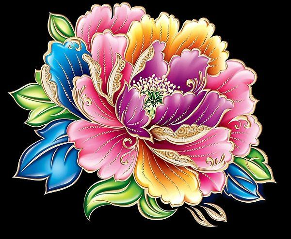 painted Asian flowers