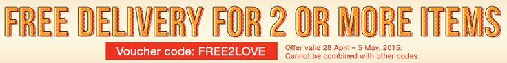 28 aprile - 5 maggio 2015: spedizione gratuita acquistando almeno due prodotti. Codice FREE2LOVE
