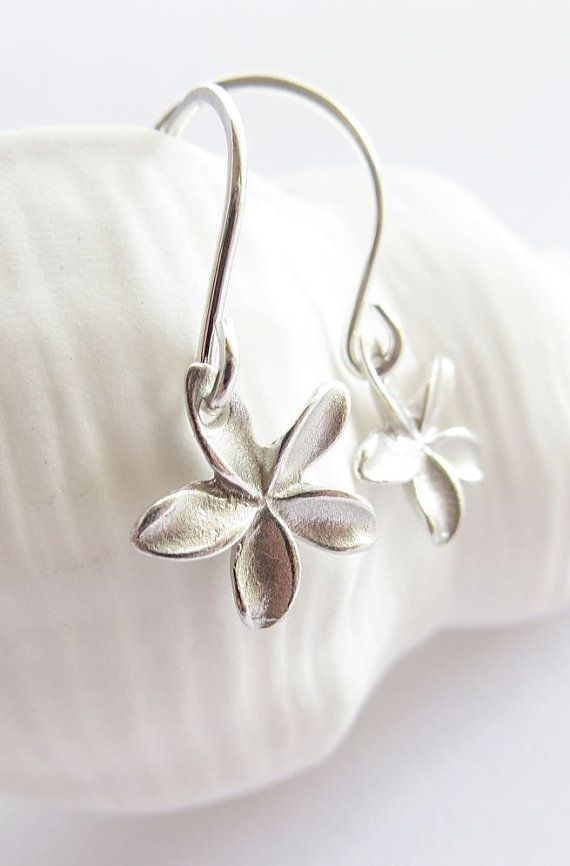 Pua Melia - Tiny plumeria earrings sterling silver, drop earrings