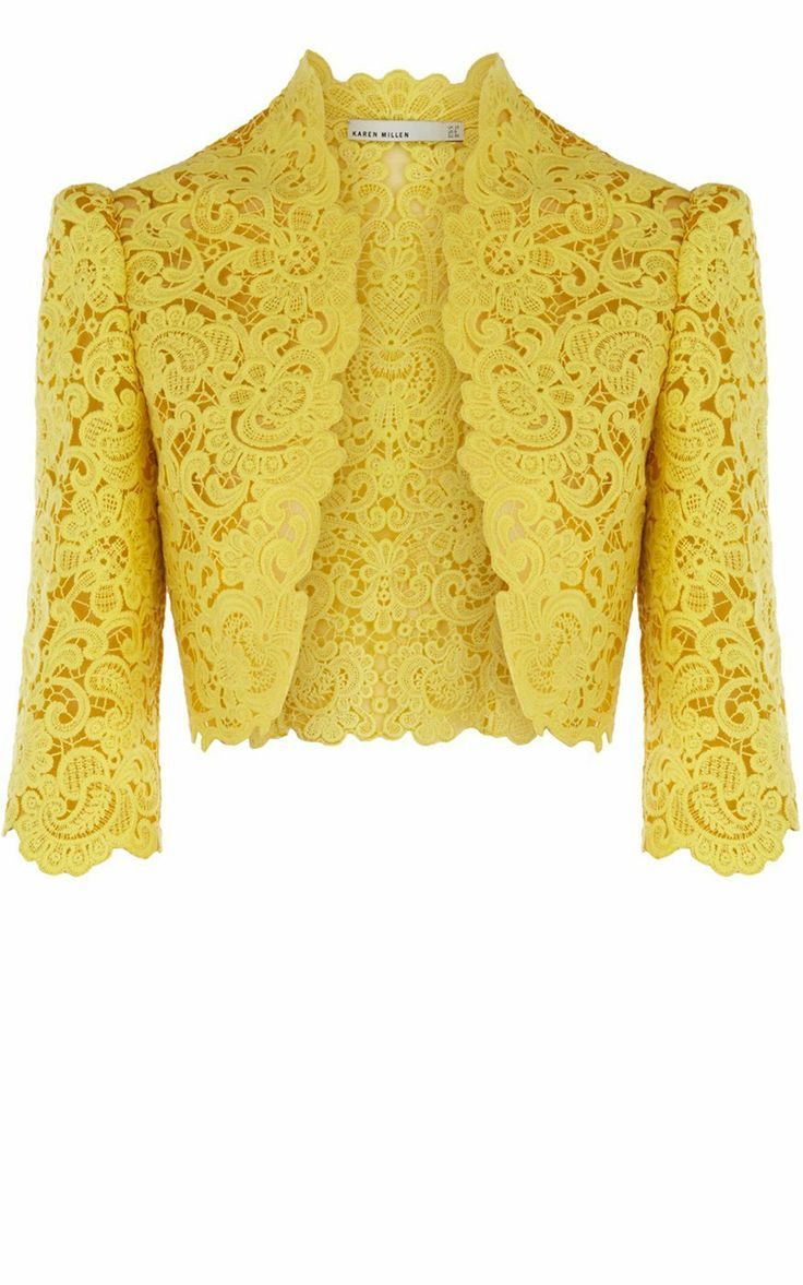 Yellow lace bolero (cropped dressy jacket) by Karen Millen Limited Edition