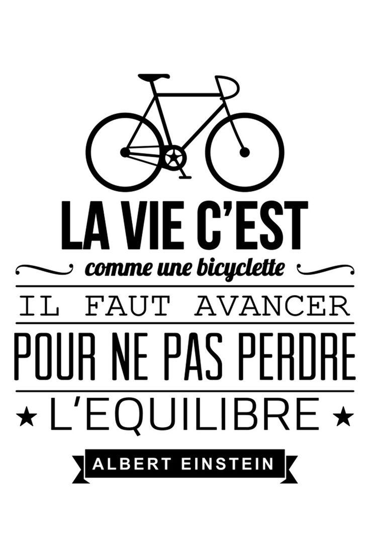 Vente AMBIANCES L'ESPRIT DÉCO STICKERS / 25727 / Lettrage / Citations en français / Sticker La vie c'est comme une bicyclette - Noir