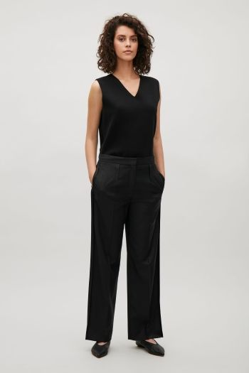 COS image 1 of Trousers with side slits in Blue Reddish Dark