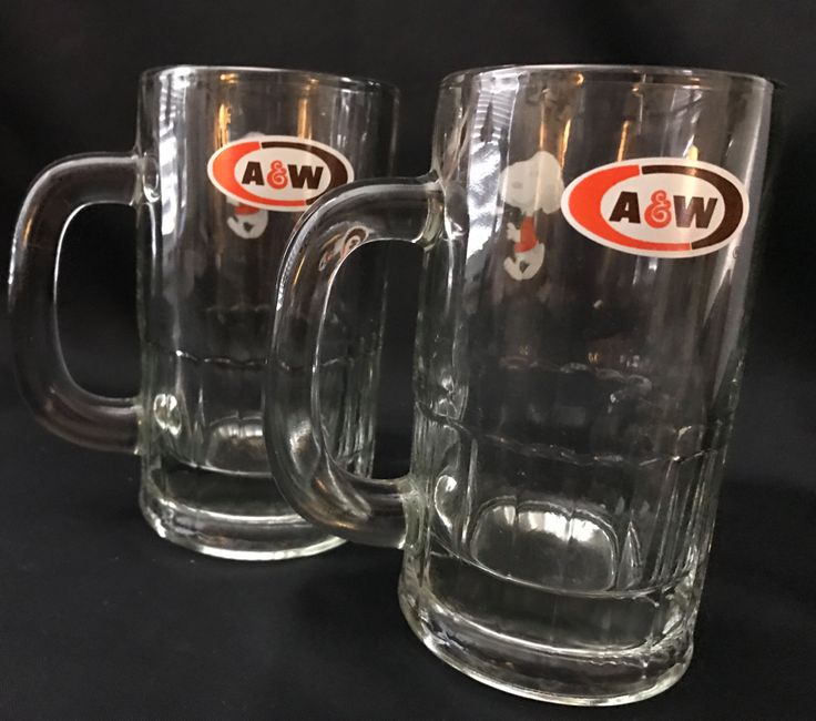 Vintage Heavy Duty SET of 2 1971 A&W Snoopy Mugs Clear by ParkVintageVillage on Etsy