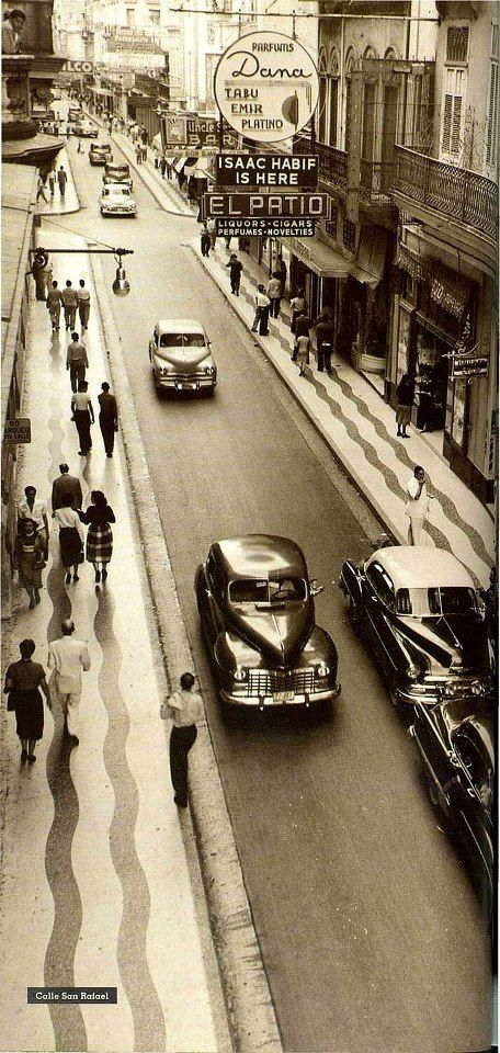 San Rafael Street, Havana.  Foto antigua de la calle San Rafael en La Habana, Cuba