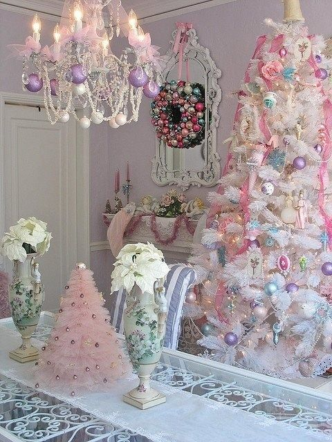 I ran across some pictures of Christmas decorations in soft pastel colors and fell in love with them.  If you are dreaming of a not-so white Christmas or if you want a change from the traditional red and green, here are some lovely ideas to inspire you.               Related