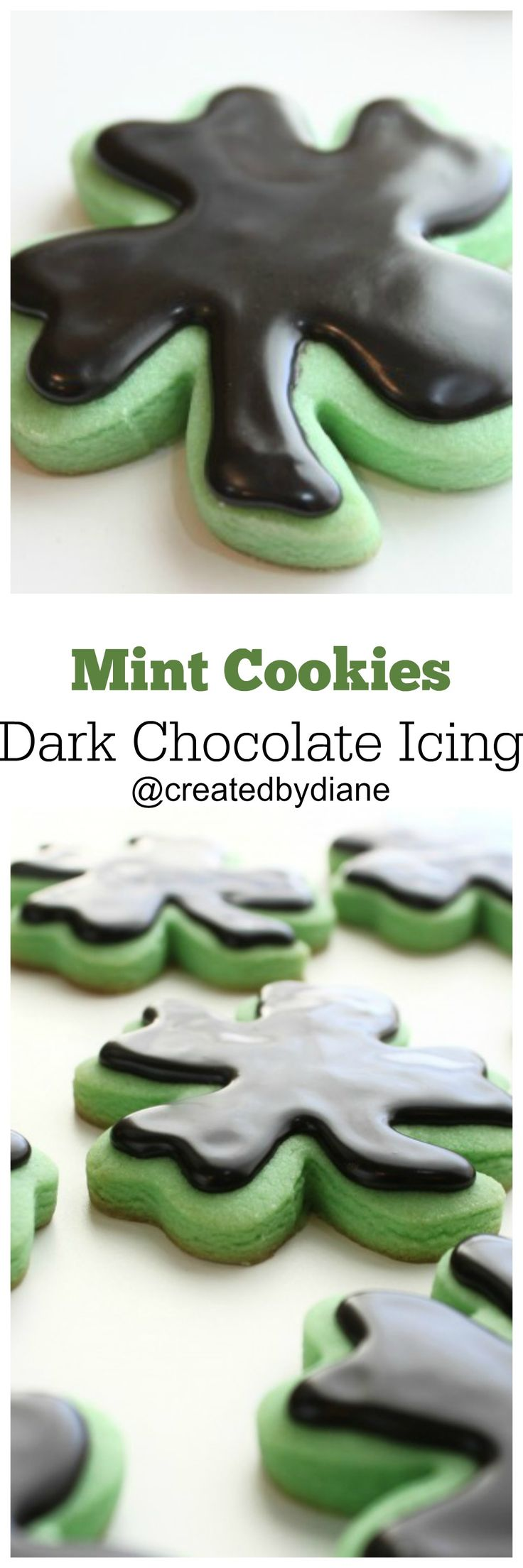 """Easy to make """"Thin Mint"""" Cookies, with Dark Chocolate Glaze Icing. Mint green cut out sugar cookies with a dark chocolate icing that is smooth and delicious. www.createdby-diane.com"""