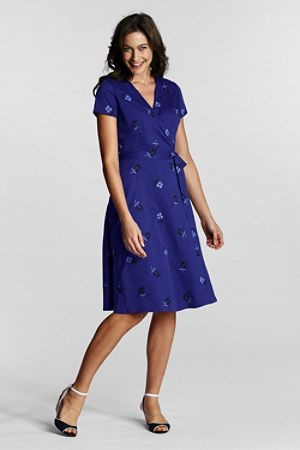 Embroidered Sateen Wrap Dress from Lands' End www.landsend.co.uk