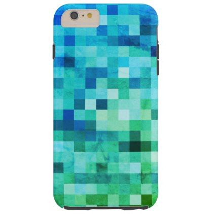 Underwater Blue and Green Mosaic Tiles Tough iPhone 6 Plus Case - blue gifts style giftidea diy cyo