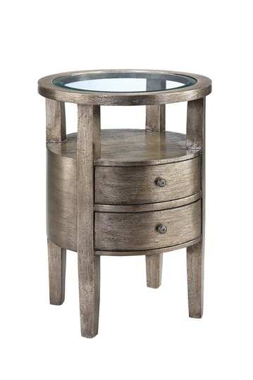 "Broadway Accent Storage Table - This round accent table is a piece that is chic in any room. Beveled lay in glass top, 2 drawers, Square tapered legs, Open shelf area, Hand painted textured pewter metallic finish over silver leafing, 18""W x 18""L x 26""D, Imported"