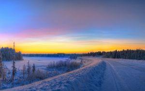 Vista previa de fondo de pantalla panorámica, puesta del sol, camino, invierno…