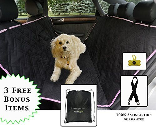 Dog Seat Cover with 3 FREE BONUS items. Padded for comfort and durability Waterproof Entire Seat Protection Warranty 3 trim colors Black Grey Pink.