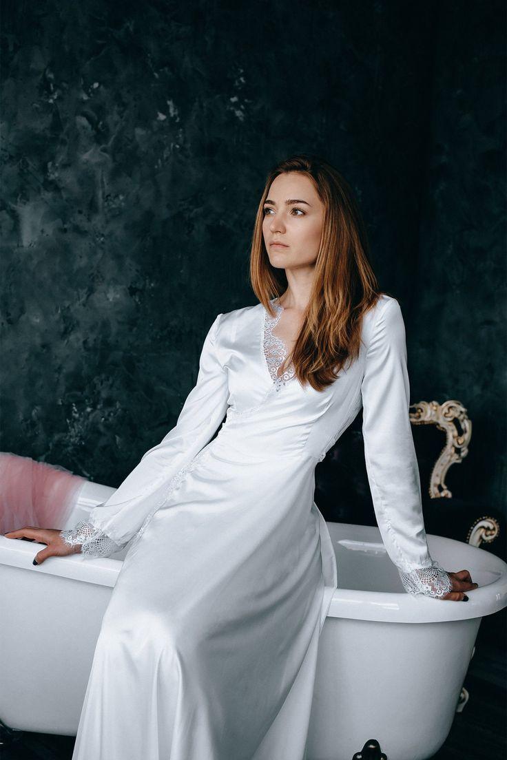Floor length white ivory satin robe, Bride robe lace back