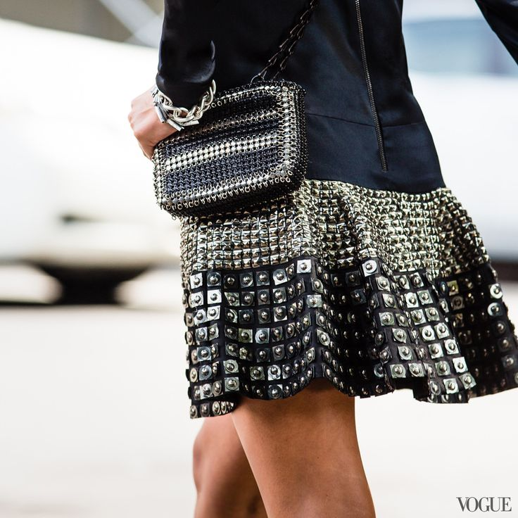 Depeche Mode and Bat for Lashes play the Barclays Center. You need a lacquered woven bag: twisted and glossy!Paco Rabanne miniLe 69 metal mesh patchwork bag in Silver and Black, $2,100For information: pacorabanne.com Belstaff dress, Pomelato bracelet, Eddie Borgo bracelet