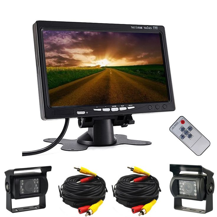 "Dual Backup Camera & 7"" LCD Car Rear View Monitor Kit for Truck Bus RV 18 IR LED Night Vision Waterproof Rearview Reverse Camera"