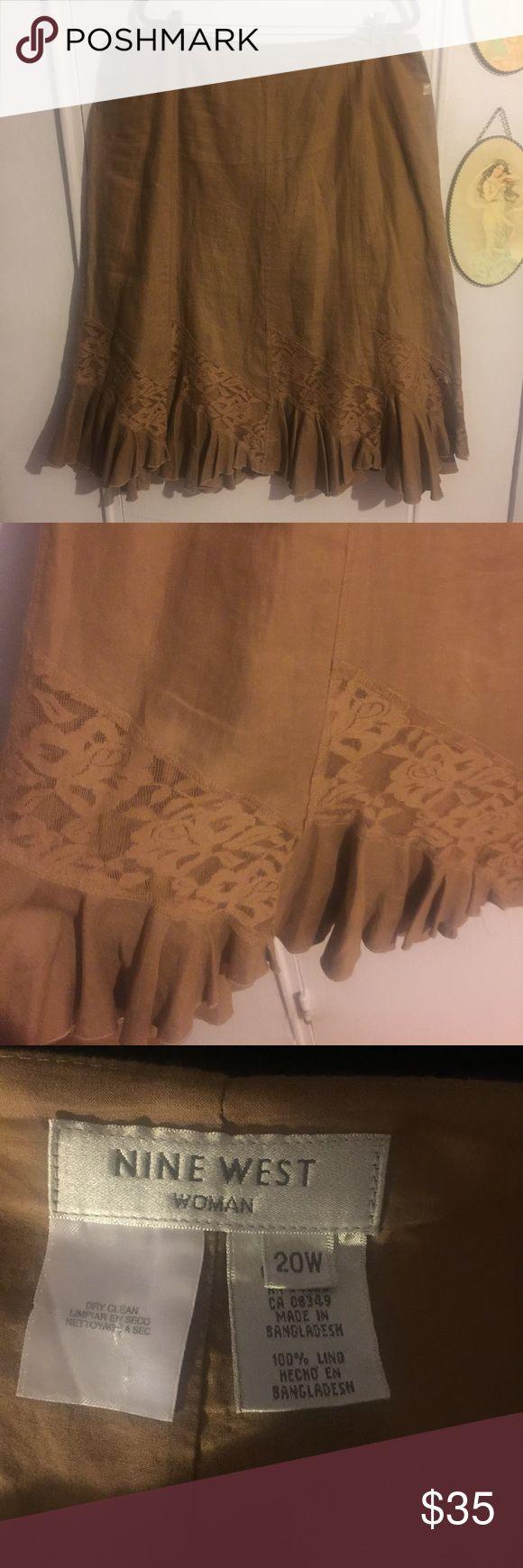 Nine West Trumpet Skirt Nine West 100% Linen Trumpet Skirt with Full Ruffle Hem. Lave Overlay Above Hem.  Worn Only Once. Like New. Nine West Skirts A-Line or Full