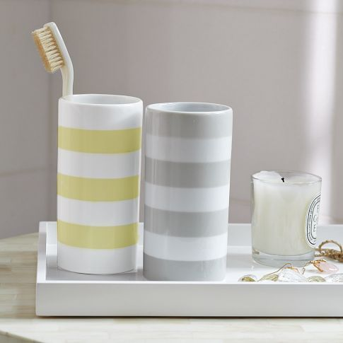 MODERN STRIPE TUMBLER  $8.00 - 1 gray/white, 1 yellow/whiteWestelm, Kids Bathroom, Toothbrush Holders, Bathroom Accessories, Bath Accessories, Master Bath, Guest Bath, Stripes Tumblers, West Elm