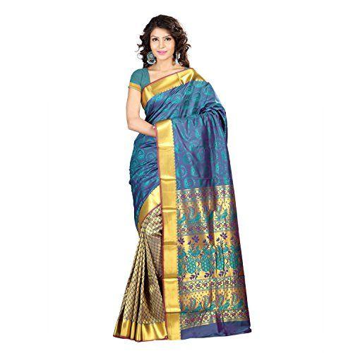 Varkala Silk Sarees Blended Saree (Hf1101Rmv_Teal Blue) banarsi saree