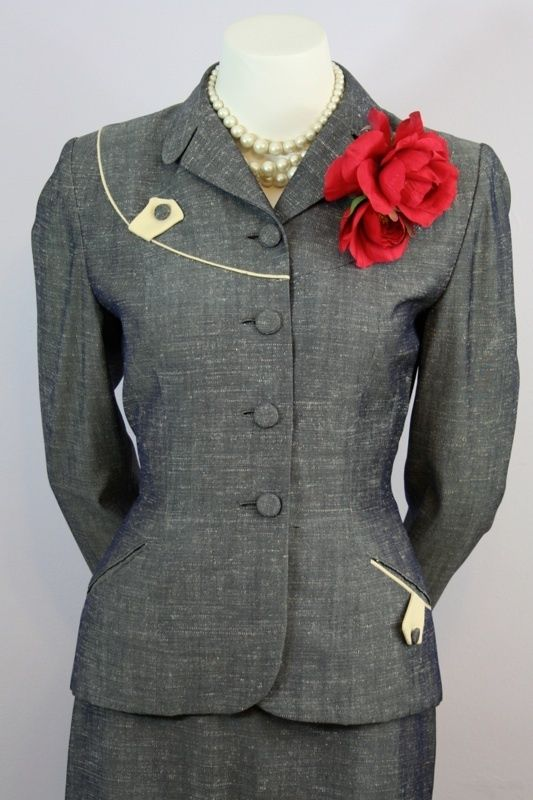 1940s suit. I've been busy squelching people's creativity suggesting they play it safe when dressing for an interview. So I thought I would go out on a limb and say, I think suits from the 1940s and 1950s translate remarkably well into today's work world. I had five suits from the 40s I wore often when I worked at Citibank, and always got complements. They have to be in very good condition, you must treat them gently, and of course, they must fit well. (I'd lose the flower, though.)