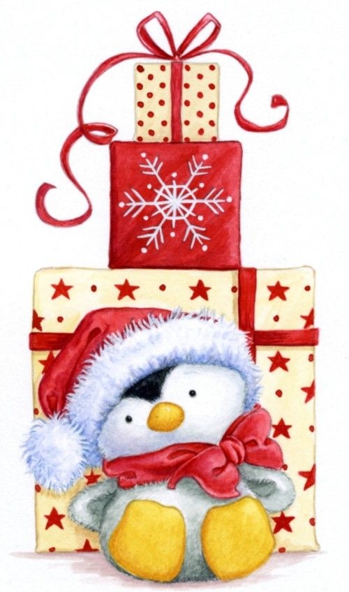 CHRISTMAS PENGUIN AND GIFTS, CLIP ART