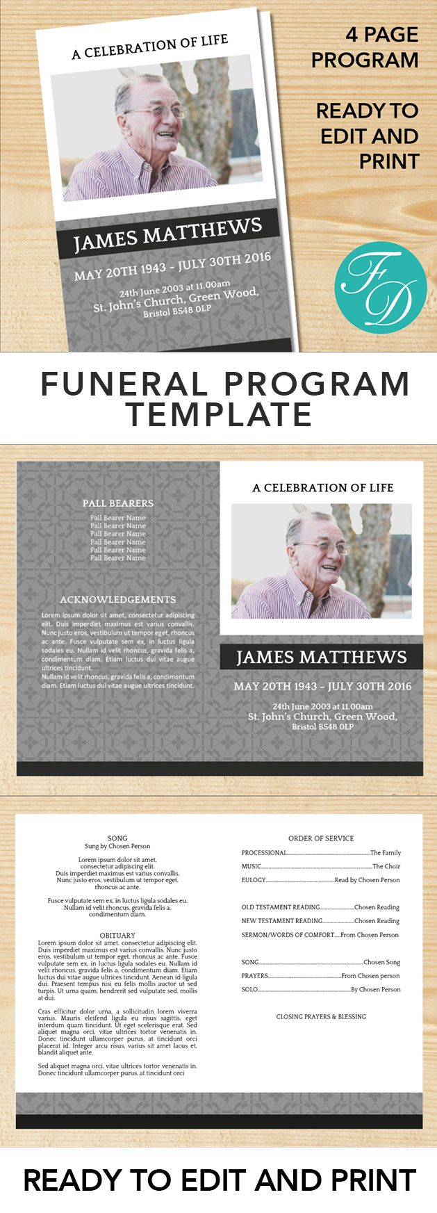 Printable Funeral program ready to edit & print. Simply purchase your funeral templates, download, edit with Microsoft Word and print. #obituarytemplate #memorialprogram #funeralprograms #funeraltemplate #printableprogram #celebrationoflife