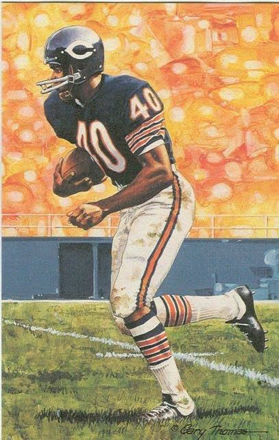 ... Gale Sayers Chicago Bears unsigned Goal Line Art Card ... 1171bcbb8
