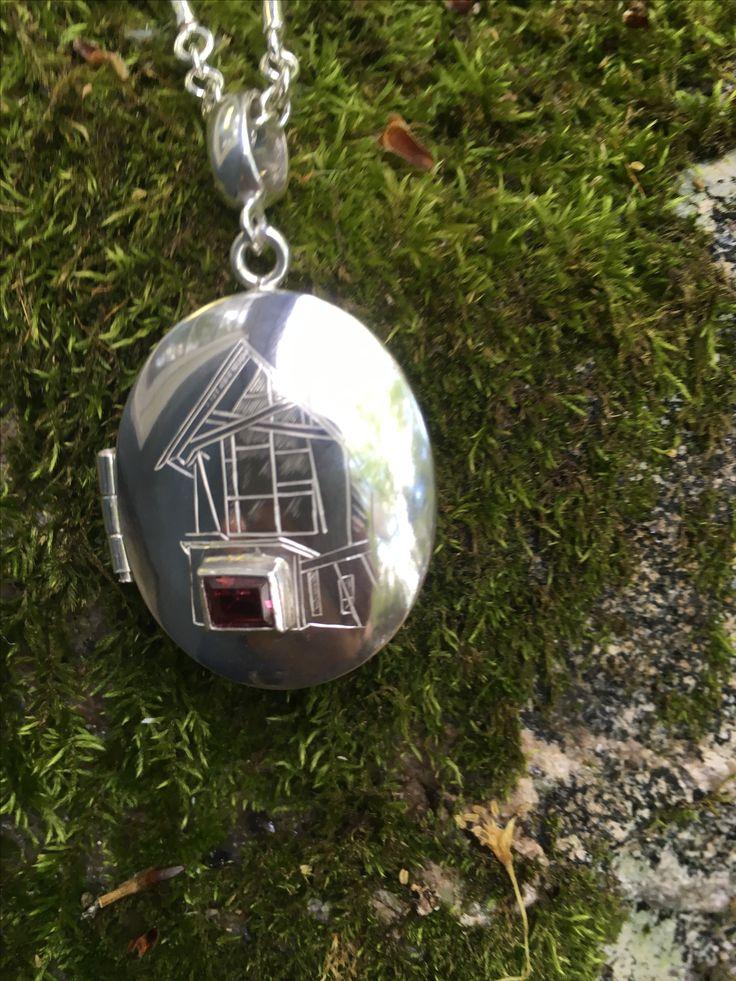 Sterling Silver  and Tourmaline Handmade Locket