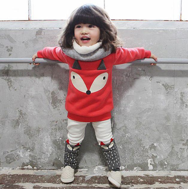 Süßes Set aus Fuchs-Pullover in knalligem Rot und weißer Hose mit braunem Fuchs für Kleinkinder/ cute fox sweatshirt in red combined with white fox trousers for kids made by poppykids via DaWanda.com
