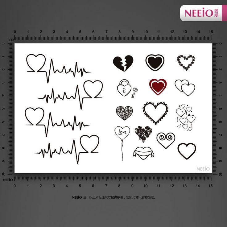 10 шт сладкий черно белый узор любви сердцебиение многоцветный татуировки наклейки водонепроницаемый ёенщин