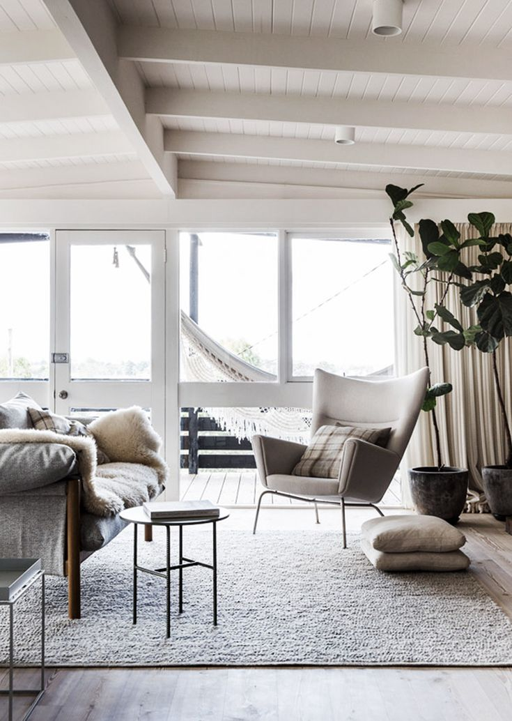 Sort of relaxed vibe I am after... Nothing fancy with the windows, a few sliding doors with similar painted cheap frame as these... Continuing the timber ceiling that is currently in the house and painting it white... keeping the gable structure but slightly higher ceilings in extension part