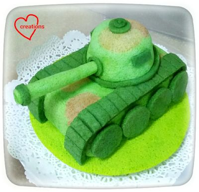Loving Creations for You: Army Tank Chiffon Cake (Pandan, Matcha and Chocola...