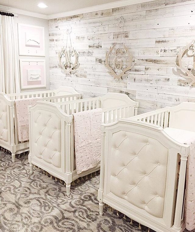 A nursery for triplets!!! I love how @melissamckean kept the design simple and concise not only with colors but with the details too