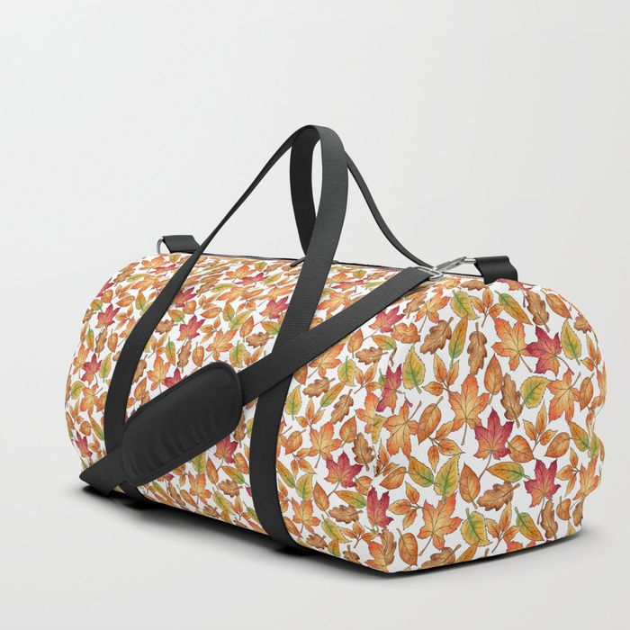 Autumn Leaves pattern design, drawn in pen and watercolours by Hazel Fisher Creations. We upped the Duffle Bag game. Your new favorite gym and travel bags feature crisp printed designs on durable poly poplin canvas. Premium details include soft polyester lining with interior zip pocket, an adjustable shoulder strap (with foam pad), carrying handles, double zipper pull tabs for easy open/close, and brushed nickel metal hardware. Available in three sizes. Spot clean only. #surfacepatterndesign